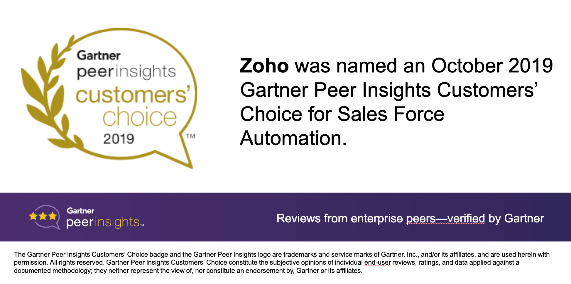 "Zoho CRM荣获10月 Gartner Peer Insights销售自动化类别""客户之选""称号"